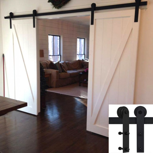 5 16ft Basic Doublesingle Barn Door Hardware Track Kit Straight