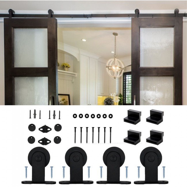 5 16ft Modern Sliding Barn Door Hardware Doublesingle Track Kit